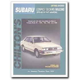 Show details of Chilton Subaru Coupes / Sedans / Wagons (70 - 84) Manual.