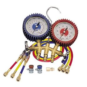 Show details of Mastercool 98772 Dual Brass Manifold Gauge Set.