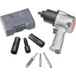 "Show details of 1/2"" Super Duty Air Impact Wrench Kit with Flip S cket Set and Bit Driver Set."