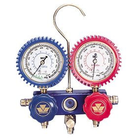 Show details of Mastercool 87772G 2-Way Manifold Gauge Set with 90 degree Snap and Seal Coupler.