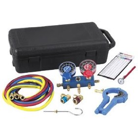 Show details of Robinair 13136 R-134a Manifold Kit with Hoses and Case.