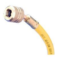 Show details of 72in. R12 Yellow Hose With Auto Shut-Off Valve Fittings.