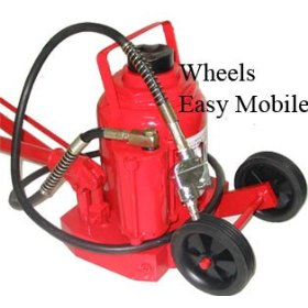Show details of 50 Ton Air Bottle Jack w/ Wheel for Easy Mobility.