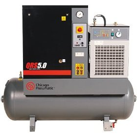 Show details of - Chicago Pneumatic Quiet Rotary Screw Air Compressor with Dryer - 5 HP, 230 Volts, 3 Phase, Model# QRS5.0HPD.