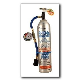 Show details of EF Products R134a with SubZero Synthetic A/C Booster Reusable Recharge Hose and Inline Gauge 19 oz..