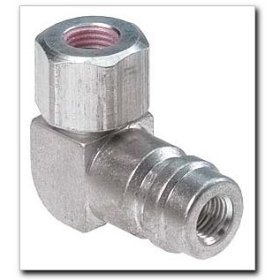 """Show details of FJC R134a Service Port Adapter - 90 degree High Side 3/16"""" Flare."""