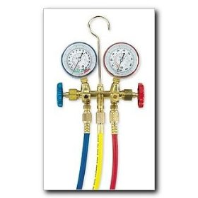 """Show details of FJC R134a Brass Manifold Gauge Set with 72"""" Hoses and Manual Couplers."""