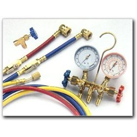 Show details of Technical Chemical R-134a Complete Manifold Gauge Set with Hoses and Professional Dispensing Valve.