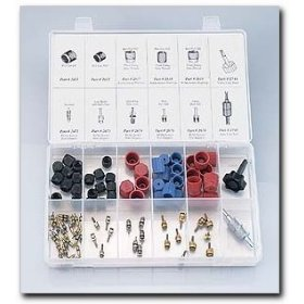Show details of FJC R12 and R134a Valve Core and Cap Assortment.