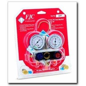 Show details of FJC Aluminum Dual Manifold Gauge Set.