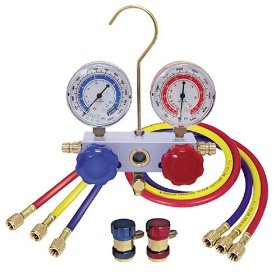 Show details of Mountain 8204 R-134a Aluminum Manifold Gauge Set with Couplers.