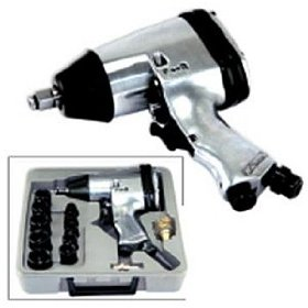 "Show details of 1/2"" Air Impact Wrench With Case and 10 Impact Sockets."
