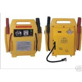 Show details of 12 Volt Jump Start Kit with Air Compressor and Power Supply.