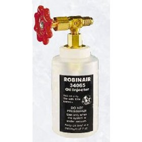 "Show details of Robinair 34065 R-134a Oil Injector with 1/2"" Acme Fitting."
