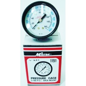 Show details of Milton Air Pressure Gauge - 1/4in, 160 PSI.
