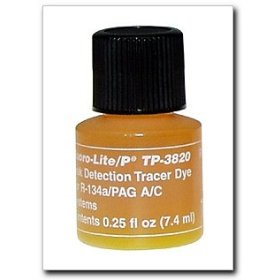 Show details of Tracerline Fluoro-Lite R-134a/PAG Bottled Dye, Case of (12) 1/4 oz. bottles.