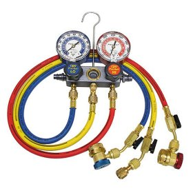 Show details of CPS Products MA1234 Pro-Set Aluminum Block Manifold A/C Gauge Set with Hoses.
