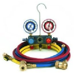 Show details of CPS Products MA134 R134a Pro-Set Aluminum Block Manifold Gauge Set with Hoses.