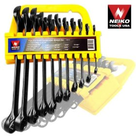 Show details of 11pc CrV Combination Wrench Tool Set, SAE.
