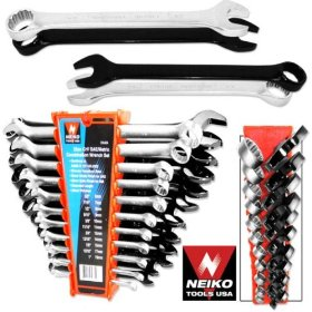 Show details of 22pc Crv Combination Wrench Tool Set, SAE & MM.