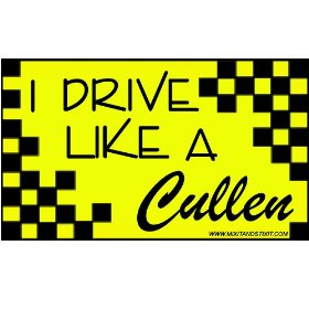 Show details of I Drive Like a Cullen Twilight Car Bumper Sticker.