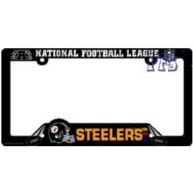 Show details of Pittsburgh Steelers Black Plastic License Plate Frame.