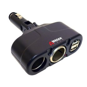 Show details of Wagan Twin USB/DC Socket Traveler's Adapter.