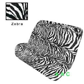 Show details of Universal-fit Animal Print Bench Seat Cover - Zebra.