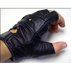 Show details of Biker's Motorcycle Fingerless Gloves - Black Leather - Size M.