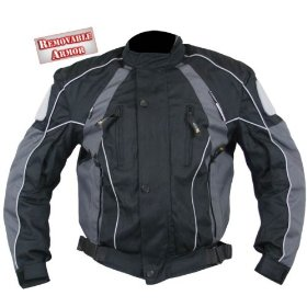Show details of Men's Black and Grey Armored Motorcycle Cordura Jackets - Size : Large.