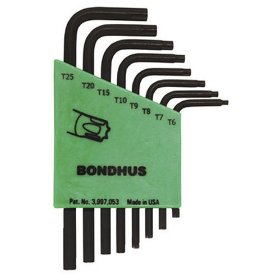 Show details of Bondhus 31732 Set of 8 Star L-wrenches, Short Length, sizes T6-T25.
