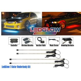 Show details of 4pc Wireless 7 Color LED Underbody Underglow Lighting Kit.