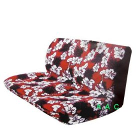 Show details of Universal-fit Hawaiian Bench Seat Cover - Red Hawaii Hibiscus Floral Print.