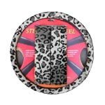Show details of Animal Print Steering Wheel Cover and Shoulder Pad - Snow Leopard.