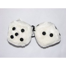 "Show details of 3"" Fuzzy Dice for Rear View Mirror White with Black Dots."