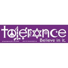 Show details of 2 TOLERANCE Bumper Stickers WONDERFUL MESSAGE!.