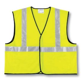 Show details of MCR Safety CVCL2SLL Safety Vest, Class 2, Poly Lime Green with 3M Reflective Stripe, Large.