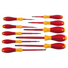 Show details of Wiha 32093 10 Piece 1000 Volt Slotted & Phillips Insulated Screwdriver Set.