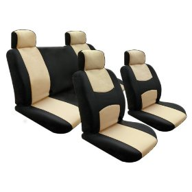 Show details of Free Upgrade Any Shipping Service to Priority Mail (Only Takes About 2-3days.) Univerisal Car Seat Cover Full Set Flat Cloth Beige/black.