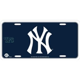 Show details of New York Yankees Blue Metal License Plate.