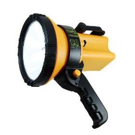 Show details of 3,000,000 Candlepower Handheld Halogen Spotlight - Recharge in Vehicle or at Home.