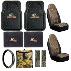 Show details of Mossy Oak Camouflage 10pc Combo Set Front & Rear Floor Mats, Seat Covers, Steering Wheel Cover, Litter Bag & Shoulder Pads.