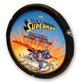 Show details of Superman Silver Shield Steering Wheel Cover.