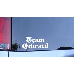Show details of Team Edward white vinyl sticker for twilight and vampire fans.