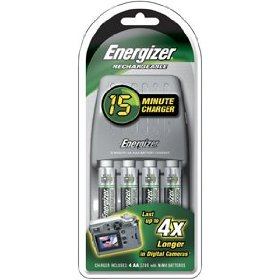 "Show details of Energizer� 15-Minute Charger & Battery 4-Pack includes 2 ""AA"" and 2 ""AAA"" rechargeable batteries."