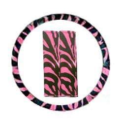 Show details of Pink Zebra Tiger Print Steering Wheel Cover and Seat Belt Pads.