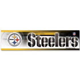 Show details of NFL Football Pittsburgh Steelers Bumper Sticker.