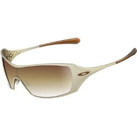 Show details of Oakley Women's Polished Gold Dart Sunglasses with VR50 Brown Gradient Lenses 05-663.