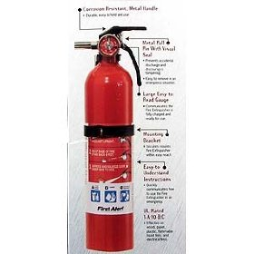 Show details of First Alert FE1A10GO 1-A 10-B:C Multi-Purpose Household Extinguisher Red.