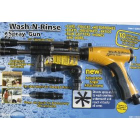 Show details of Bon-Aire Wash-N-Rinse Yellow Spray Gun Pack - 10 Different Connections Combos.